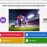 A game question in Kahoot! with four possible answers: A, B, C & D.