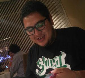 Gil wearing a tee shirt