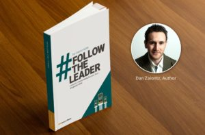 The cover of the book #FollowTheLeader plus an inserted image of Dan