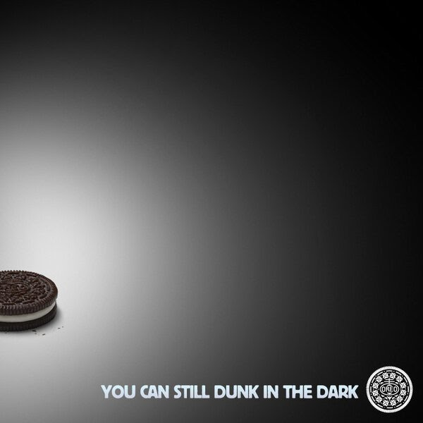 You Can Still Dunk in the Dark image from @OREO from 8:48 PM - 3 Feb 2013 famous real time marketing win. Image is the property of Nabisco Brands.