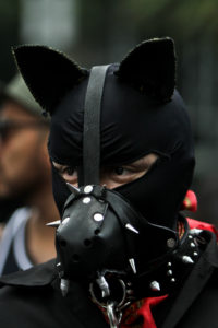 An individual wearing a black face mask with black leather dog ears, a black leather snout, and a spiked collar.